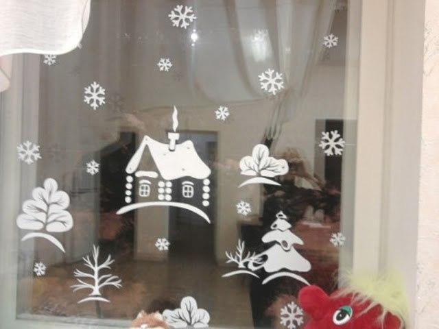 Украшения на стекла к новому году