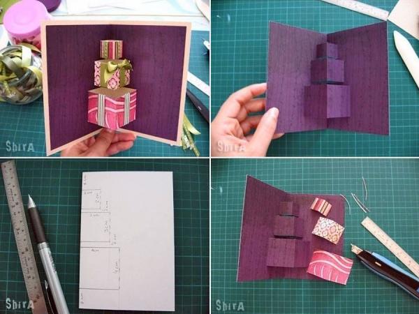 Как сделать открытку объемную с подарком