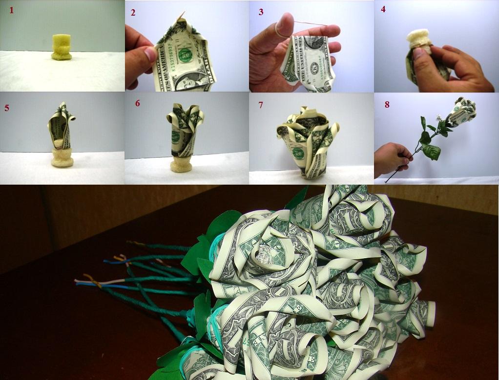 Роза из денег своими руками пошаговая