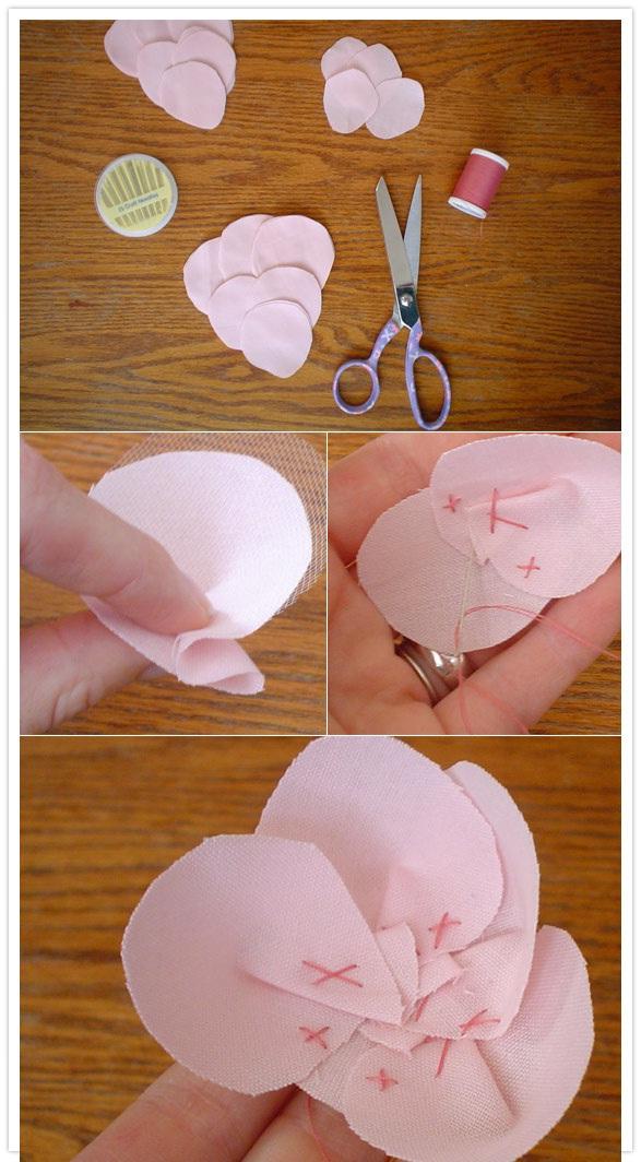 Как сшить цветок из ткани своими руками видео