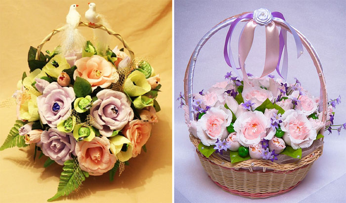 Свадебные корзины из конфет своими руками